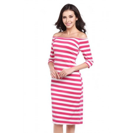 Dress Striped Medium Knee Sleeve 3/4 Social Shoulder Dropped Light Pink