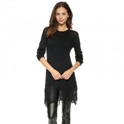 Camisola Feminina em Renda Preta Blusa Longa Rasgada Moda Inverno