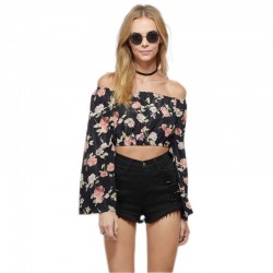 Mini Blusa Feminina Floral Ombro Caído Preta Moda Praia Verão Estampada