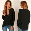 V Neck Casual Dress Casual Long Sleeve Gray and Black Basic Female