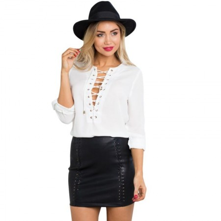 Blouse White Blue and Black Female Decon with Ties 3/4 Sleeve Party