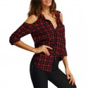 Women's Chess Open Shoulder Button Casual Checked Red Button