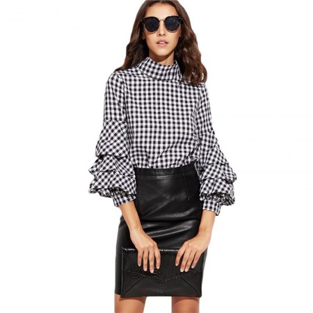Blusa Boemia Quadriculada Feminina Moda Inverno Social Sofisticada