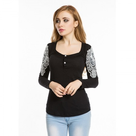 Square Neck Women's T-Shirt with Bardados in Lace Casual Fashion