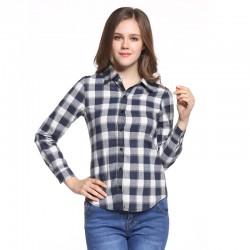 Long Casual Chess Women's Casual Long Checked Fashion Shirt