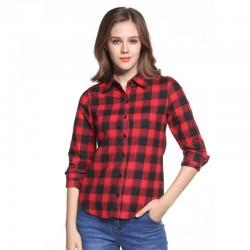 Camisa Xadrez Casual Feminina Comprido Moda Quadriculada Manga Longa