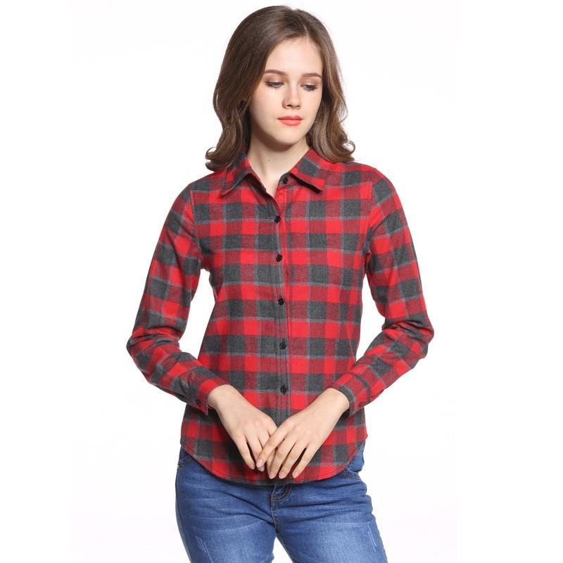 442358b1a0 Camisa Xadrez Casual Feminina Comprido Moda Quadriculada Manga Longa.  Loading zoom