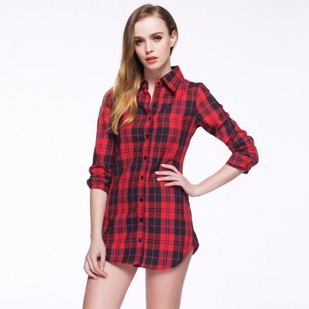 26b70cc59a Camisa Xadrez Casual Feminina Comprido Moda Quadriculada Manga Longa