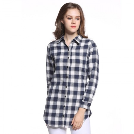 Long Casual Chess Women's Casual Long Checked Fashion Shirt