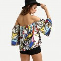 Blusa Boemio Ombro Caido Estampada Colorida Artistico Desenhos Mulher