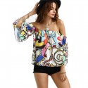 Bohemian Blouse Shoulder Fallen Printed Colorful Artistic Drawings Woman