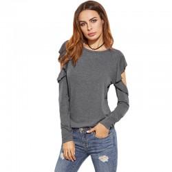 Camiseta Feminina Vazado Blusa Moda Inverno Casual Cinza Manga Longa