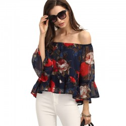 Beautiful Blouse Bohemian Floral Navy Blue Female Dropped Shoulder Casual