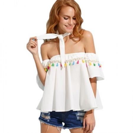 Blusa Branca Fofa Ombro Caído Plissado com Laço Moda Praia Feminina
