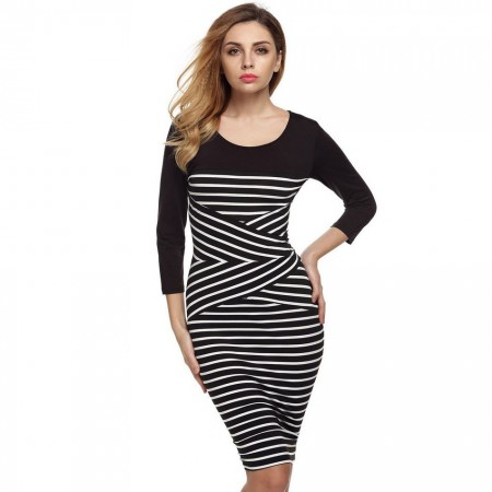 Striped Dress Casual Elegant Medium Long Sleeve Black and White