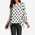 Women's Jacket White and Black Polka Dot Dalmata Fashion Winter