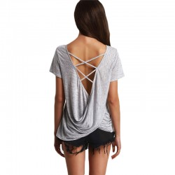 Women's Blouse Casual Summer Fashion Gray Cast on the Back New Design