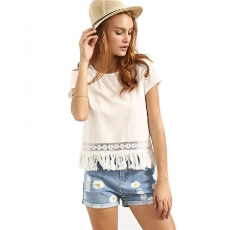Camiseta Feminina Moda Praia Branca Com Recortes Estilizados Solto