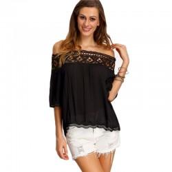 Women's Blouse Black Shoulder Drop Details Casual Lace 3/4 Sleeve