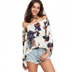Women's Blouse White Floral Bohemia Summer Beach Fashion Dropped Shoulder