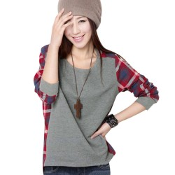 Women's Winter T-Shirt Gray Chess Long Sleeve Thick Casual