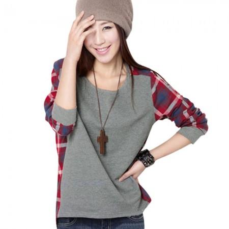 Camiseta de Inverno Feminina Xadrez Cinza Manga Longa Grossa Casual
