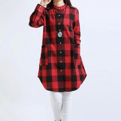 Blouse Women's Dress Long Chess Red and Gray Winter Bathrobe