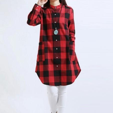 Blouse Women's Dress Long Chess Red and Gray Winter Bathrobe