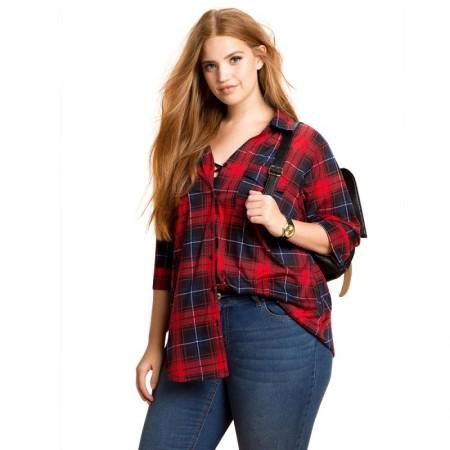 86716547d Blusa Xadrez Plus Size Extra Grande Feminina Vermelha Manga Longa
