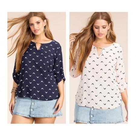 Plus Size Women's Plus Size Blouse Plus Size Blue and White
