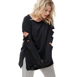 Blusa estilo Emo Feminina Preta Rascada Gódico Plus Size Grande