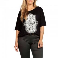 Camiseta Plus Size Extra Grande Feminina Blusa Preta Estampada Casual
