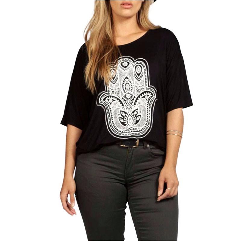 b03d4a5d09 Camiseta Plus Size Extra Grande Feminina Blusa Preta Estampada Casual