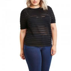 Camiseta Listrada Plus Size Feminina Preta Casual Tamanho Grande