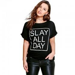 Camiseta Estampada Preta Feminina Plus Size Slay All Day Casual Emo