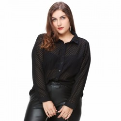 Blouse Social Black Female Long Sleeve Plus Size Large Elegant