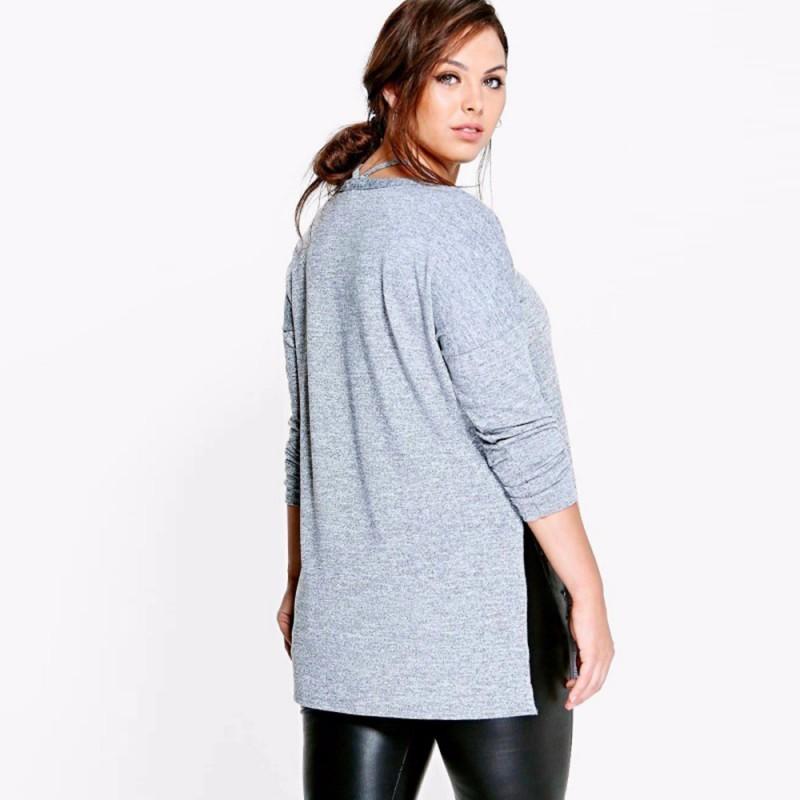 100ade6bc63 Winter Blouse Gray Light Female Plus Size Long Sleeve