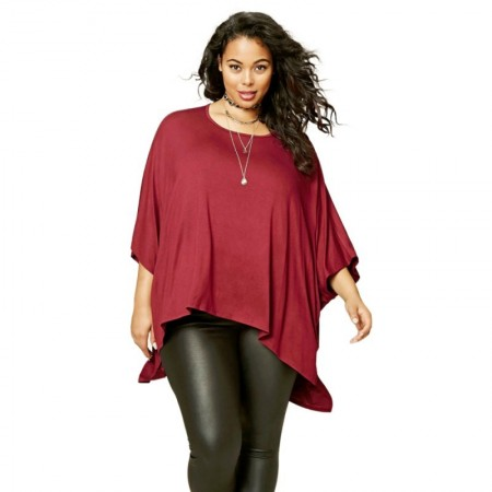 Women's Red 3/4 Sleeve Top Plus Size Large Plus Size Casual