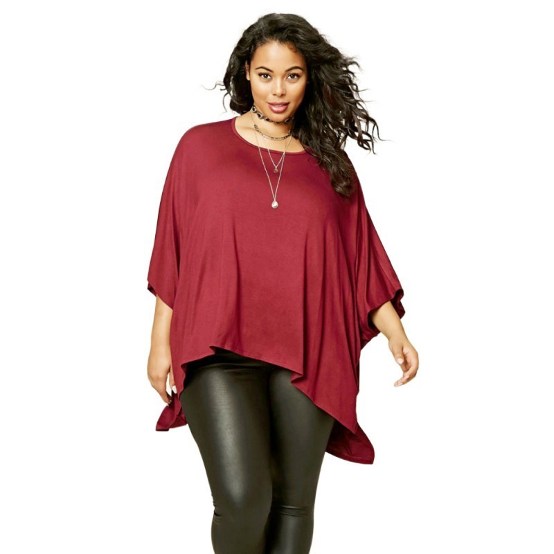 2b9e97f00 Women s Red 3 4 Sleeve Top Plus Size Large Plus Size Casual