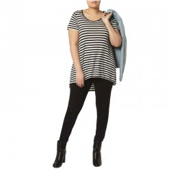 Women's T-Shirt White Striped Fashion Plus Size Light Use Daily