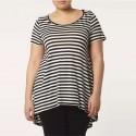 Camiseta Feminina Branca Listrada Moda Plus Size Uso Diario Leve