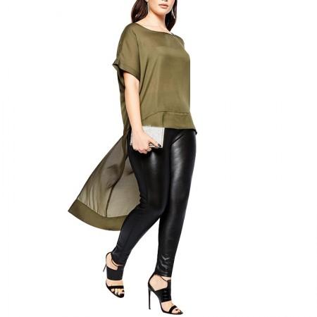 Blouse Feminine Chiffon Asymmetrical Green Army Plus Size Elegant