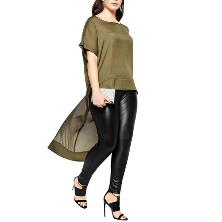 Blusa Feminia Chiffon Assimétrico Verde Exercito Plus Size Elegante