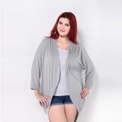 Casaco Solto Kimono Cardigan Grande Feminino Cinza e Preto Plus Size