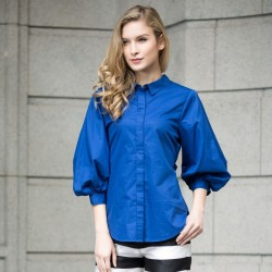 Women's Blouse Manga Lantern Style Vintage Blue and White 3/4 Sleeve