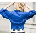 Women's Blouse Manga Lantern Style Vintage Blue and White 3/4 Sleeve