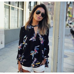 Women's Floral Printed Blouse Fashion Summer Neckline V Long Sleeve