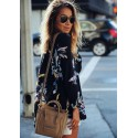 Women's Floral Printed Blouse Fashion Summer Neckline V Long Sleeve