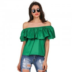 Women's Blouse Bohemia Beach Fashion Shoulder Dropped With Babado Various Colors