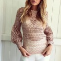 Women's White Blouse in Lace Tankini Sleeve Transparent Flashlight